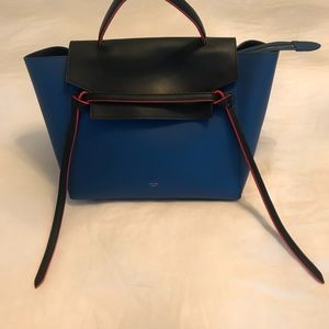 Blue Purse with Black and Red Trim